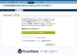 WordPress.com API キーを入力