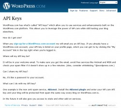 WordPress.com API キー取得ページ