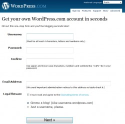 WordPress.com account取得