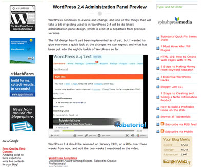 WordPress 2.4 Administration Panel Preview | Tubetorial