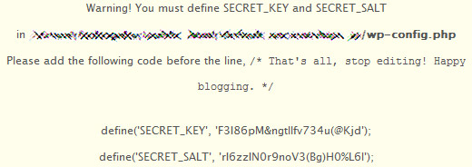 WordPress MU 1.5.1 SECRET_KEY and SECRET_SALT