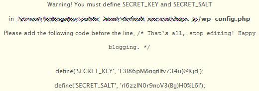 WordPress MU 1.5.1 SECRET_KEY and SECRET_SALT