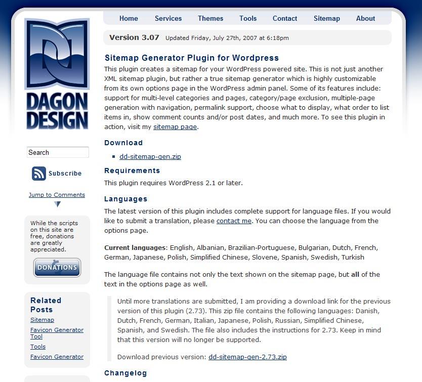 Sitemap Design: サイトマップ作成プラグイン Dagon Design Sitemap Generator