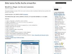 WordPress Plugin: Get Recent Comments at Bitte keine heiße Asche einwerfen