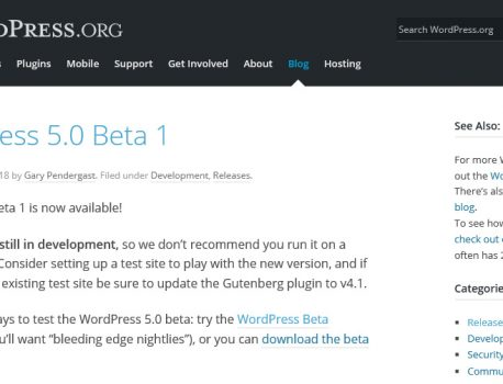 WordPress 5.0 Beta 1 リリース